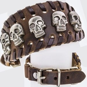 Skull Studded Buckled Genuine Leather Cuff NWT